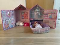 Baby Annabell dollhouse + Baby Born doll with a bundle of clothes