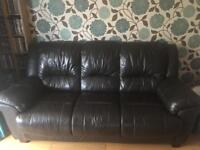 Free brown leather three seater settee