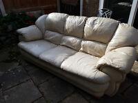 FREE Leather cream sofa, 3 seater