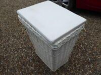 White laundry basket with paddled seat