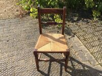 Upright wooden Chair with Reed Seat