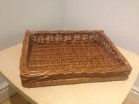2 Small Slanted Wicker Baskets - Produce Display & Storage (41cm x30cm x10cm) - MUST GO