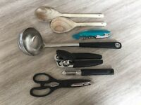 Cooking accessories: Ladle, Wooden Spoons, Scissors, Grater, Strainer - NG