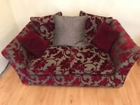 Red and Silver/Grey 2 seater sofa
