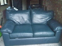 2 Marks And Spencers Real Leather Sofas - Navy Blue - Free Delivery