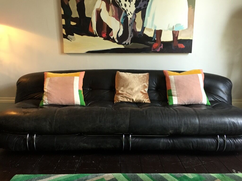 Vintage Black Leather & Metal Sofa