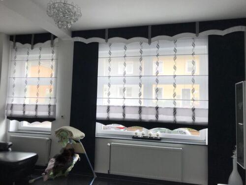 Moderne Gardinenset, verstellbare Gardinen, schwarz weiß Gardinen