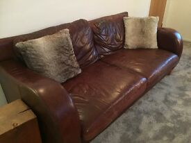 Dark brown leather, sofa, chair & footstool.