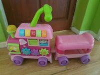 Pink kids ridr in train