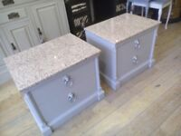 Lovely set of bedside TABLES with granite top (American style).