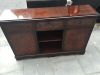 Mahogany Side cabinet , with drawers and storage . Free local delivery.