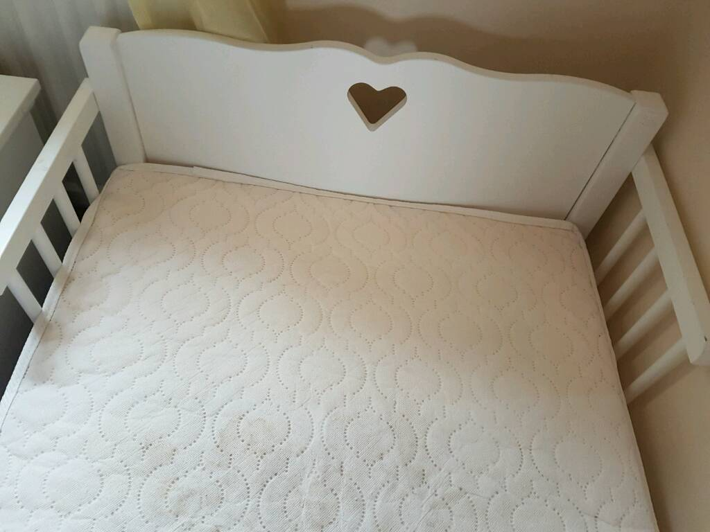 Girls Heart White Cot Bed Toddler
