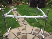 Drum rack. Heavy duty Pearl rack with numerous attachments for drums and cymbals.