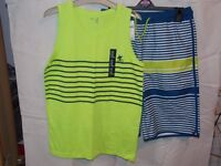 Boys Gap Swim shorts & Vest Top Set Lime Green & Navy Top, Lime Green, Navy & White Shorts Age 13yrs