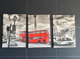 Set of 3 large London theme canvas set