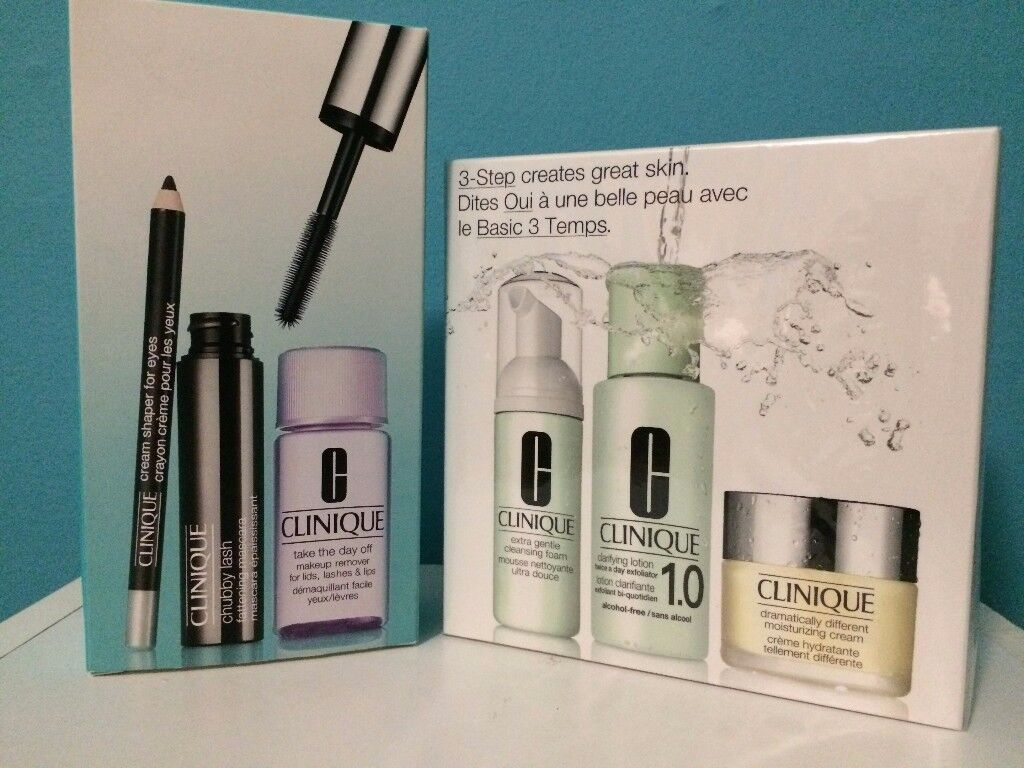 CLINIQUE crayon, lash, day off, 3 Step Creates Great Skin System Type 1 - Large Size