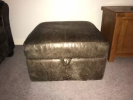 2 X 3 seater leather sofas and footstool