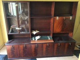 Lovely Mahogany effect wood display and storage cabinet