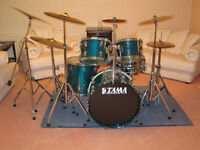 TAMA SUPERSTAR VINTAGE 1980'S DRUM KIT WITH STANDS, CYMBALS & CASES - AQUA MARINE