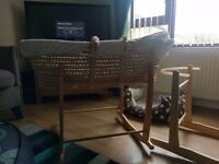 Baby moses basket. Two way rocking system £45 ono.