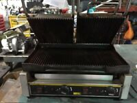 Buffalo L554 Clamp Grill Double Sided Panini Press Rib/Rib Contact Grill Commercial
