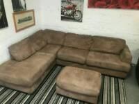 Designer suede corner sofa