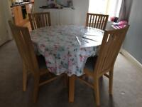 Ikea BJURSTA Round Extendable Dining Table plus 4 NORRNAS Dining Chairs