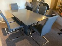 HARVEYS GREY GLASS DINING TABLE WITH 6 GREY LEATHER CHAIRS FREE DELIVERY MCR