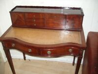sheraton ,style ladys writing desk table gorgeous red flame mahogany leather shaped writing surface