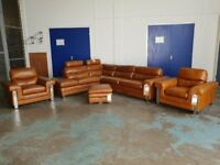 BRAND NEW MODE BROWN LEATHER SUITE CORNER SOFA ARMCHAIRS & FOOTSTOOL MADE BY FABB SOFAS CAN DELIVER