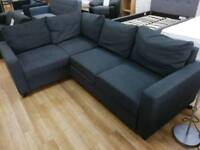 Grey fabric corner sofabed