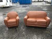 MADE-COM EX DISPLAY JAZZ CLUB ARMCHAIR IN RICH COGNAC LEATHER - RRP £349