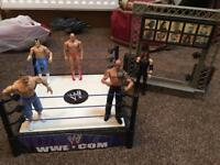 WWE ring with entrance and wrestlers