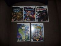nintendo wii five games age 7-15