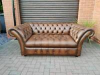 Chesterfield genuine leather 2seater sofa in NEAR NEW CONDITION THROUGHOUT! BARGAIN!