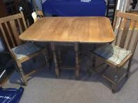 Vintage solid oak drop leaf dining kitchen table and 2 chairs