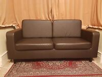 3 Seater Chocolate Brown Faux Leather Couch/Sofa