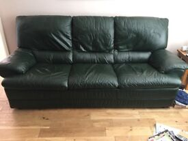 Natuzzi leather 3 seater, 2 seater, reclining armchair and footstool