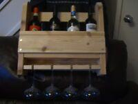 Wooden Wine Bottle & Glass Racks