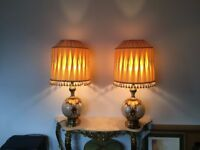 Pair impressive large vintage table lamps with shades - tested