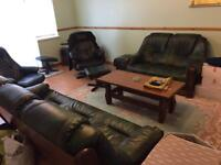 High qulaity furniture, leather sofas, dining table with 6 chairs. reclining chairs.