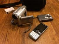 Sony handycam and digital camera and phone job lot