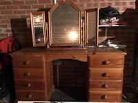 Dressing table, mirror, and drawers. Shabby chic