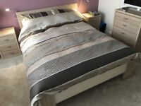 Berkley Bed room set, Double bed, 2x bed side table 1x chest of draws