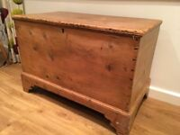 Victorian pine blanket chest with original handles