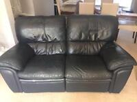 Dark Blue 2 Seater Leather Recliner Sofa - £40 ONO *CAN DELIVER*