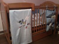 Mamma's & Pappa's Large Cot with mattress & over cot changer +big storage