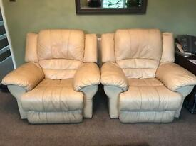 2 x electric recliners, cream leather