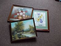 3 pictures Flowers and Landscape 24 x 18 inch