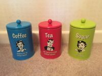 Coffee, tea and sugar tins